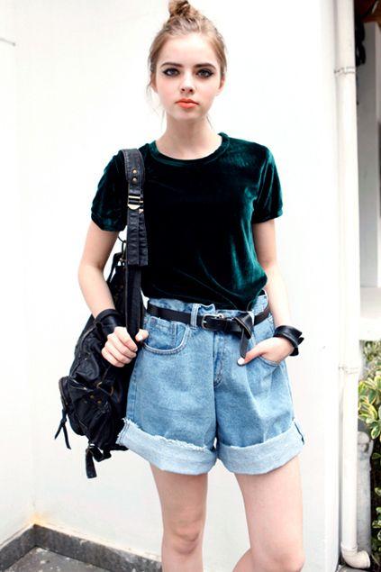 blusão veludo pastel + short