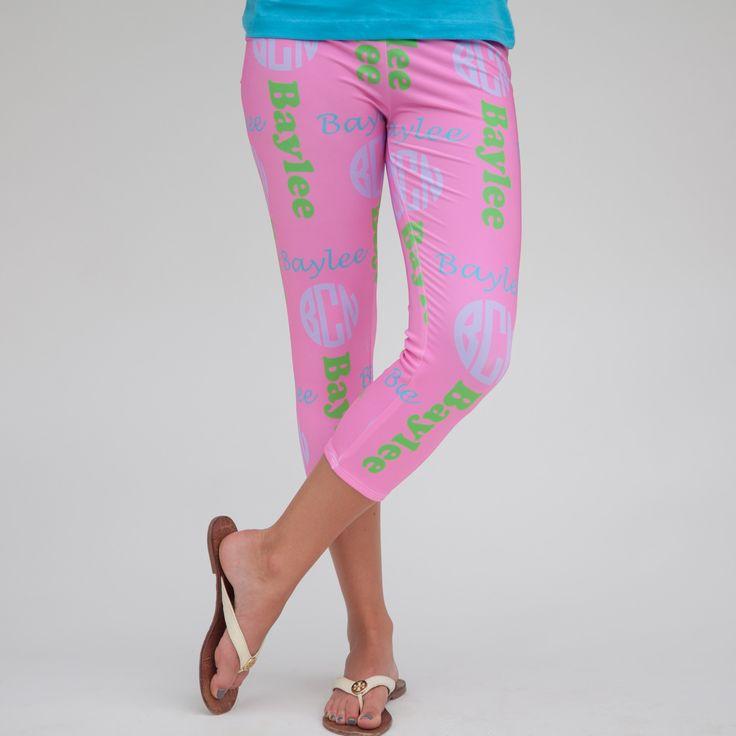 Ladies Pink INITIAL & NAME Arden Capri Leggings