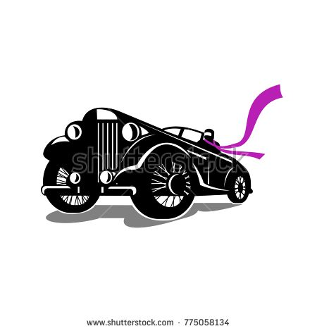 Retro style illustration of a vintage roadster, coupe classic automobile with top down and driver with flowing scarf viewed from a low angle on isolated background.  #coupe #retro #illustration