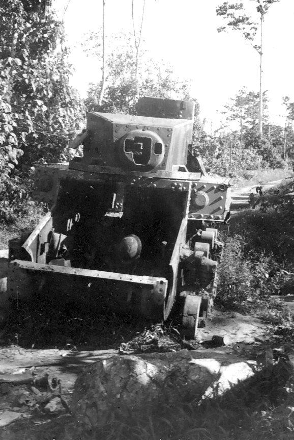 Destroyed M3A1 light tank, Buna, Australian Papua, mid-1943