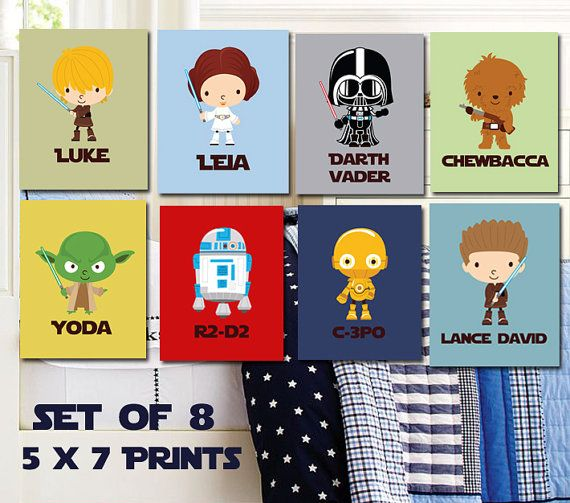 Personalized Star Wars Kids Art- The Ulimate Star Wars Collection- 8- 5X7 Prints With Star Wars Characters - Star Wars Nursery - Jedi Prints...