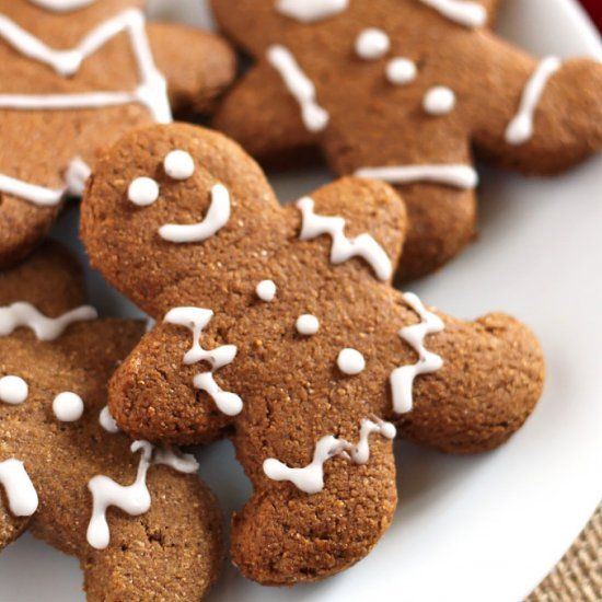 These adorable Vegan Gingerbread Cookies have that classic spice & hint of sweetness, but they're whole wheat!