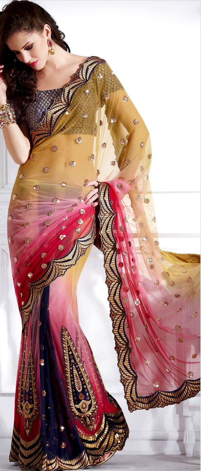 Mustard and Shaded Pink Net #Lehenga style #Saree with blouse | $124.57 | Shop Here: http://www.utsavfashion.com/store/sarees-large.aspx?icode=sws4148