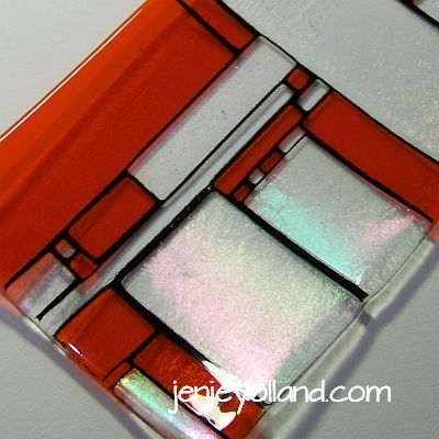 Scarlet red and iridized clear - sparkling square plate inspired by Piet Mondrian by Jenie Yolland