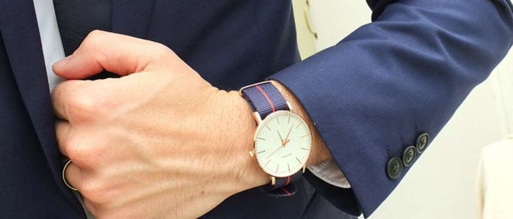 canvas strap watch mens navy suit