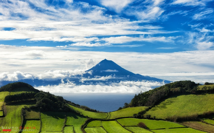 The impressive #Pico Island viewed from São Jorge Island, #Azores.  http://www.brunoazera.com/