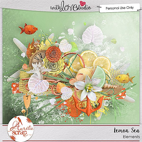 Lemon Sea digital scrapbooking elements from Aurelie Scraps. This pack coordinates with the June 2016 Lovely Colors at With love Studio. You can mix and match this with all the other Lovely Color Packs to create gorgeous digital and hybrid scrapbooking layouts.