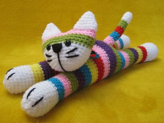 Moe The Stripey Cat Amigurumi Toy Crochet  PATTERN por Millionbells, $5.50