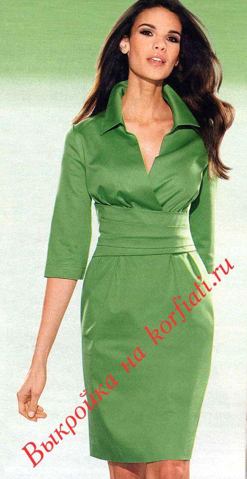 Зеленое платье с воротником и поясом