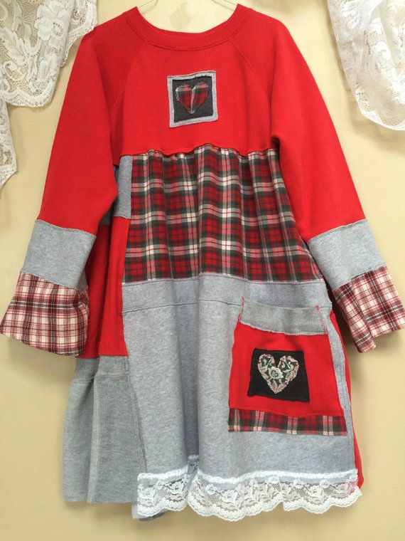 Upcycled Clothing Red Plaid Flannel patchwork Dress Upcycled