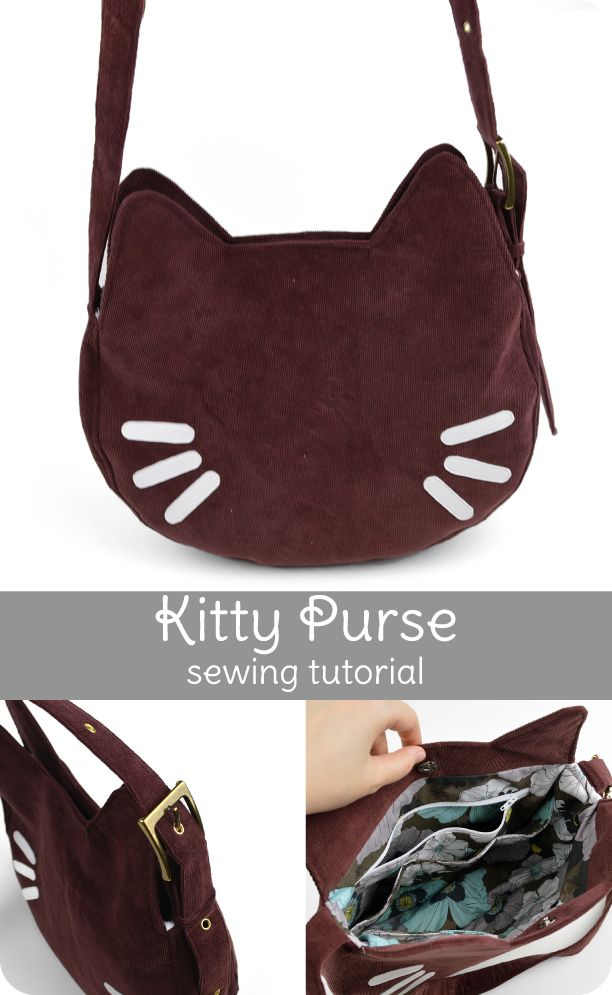 Free pdf instructions to make the Kitty Purse | from A Curiously Cute Craft blog