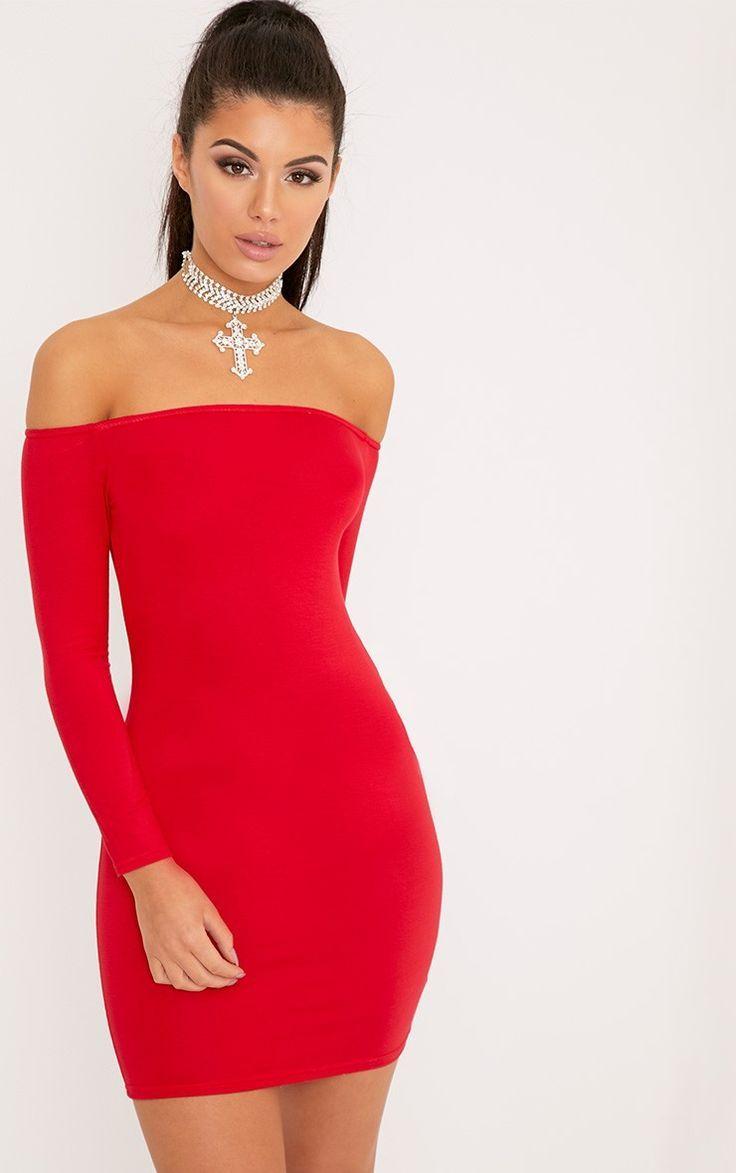 Rotes Bardot, figurbetontes Kleid Brauchen Sie eine neue LBD  Wir haben das  perfekte für 54cd445791