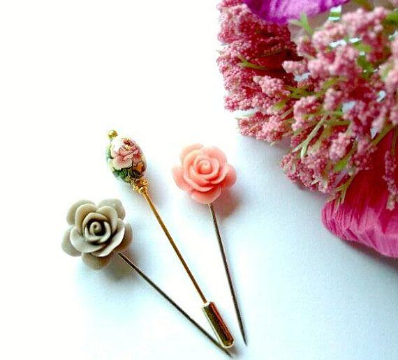 Summayah Rose Hijab Pin Hat Pins Lapel Pins by haniyyajewelz