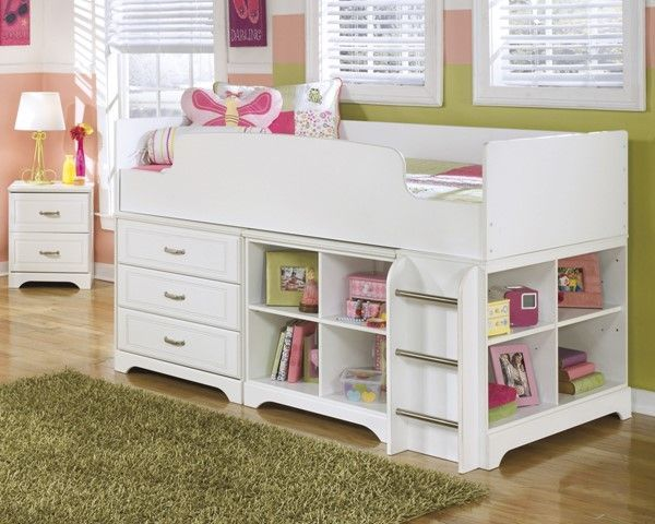 Ashley Furniture Lulu White Wood Twin Loft Bed Kids