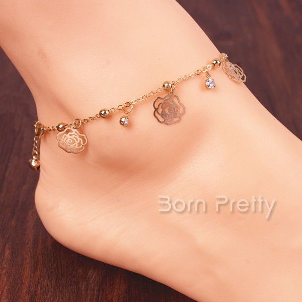$2.99 Fascinating Hollow Rose Anklet Tiny Bell Pattern Chain Link Anklet - BornPrettyStore.com