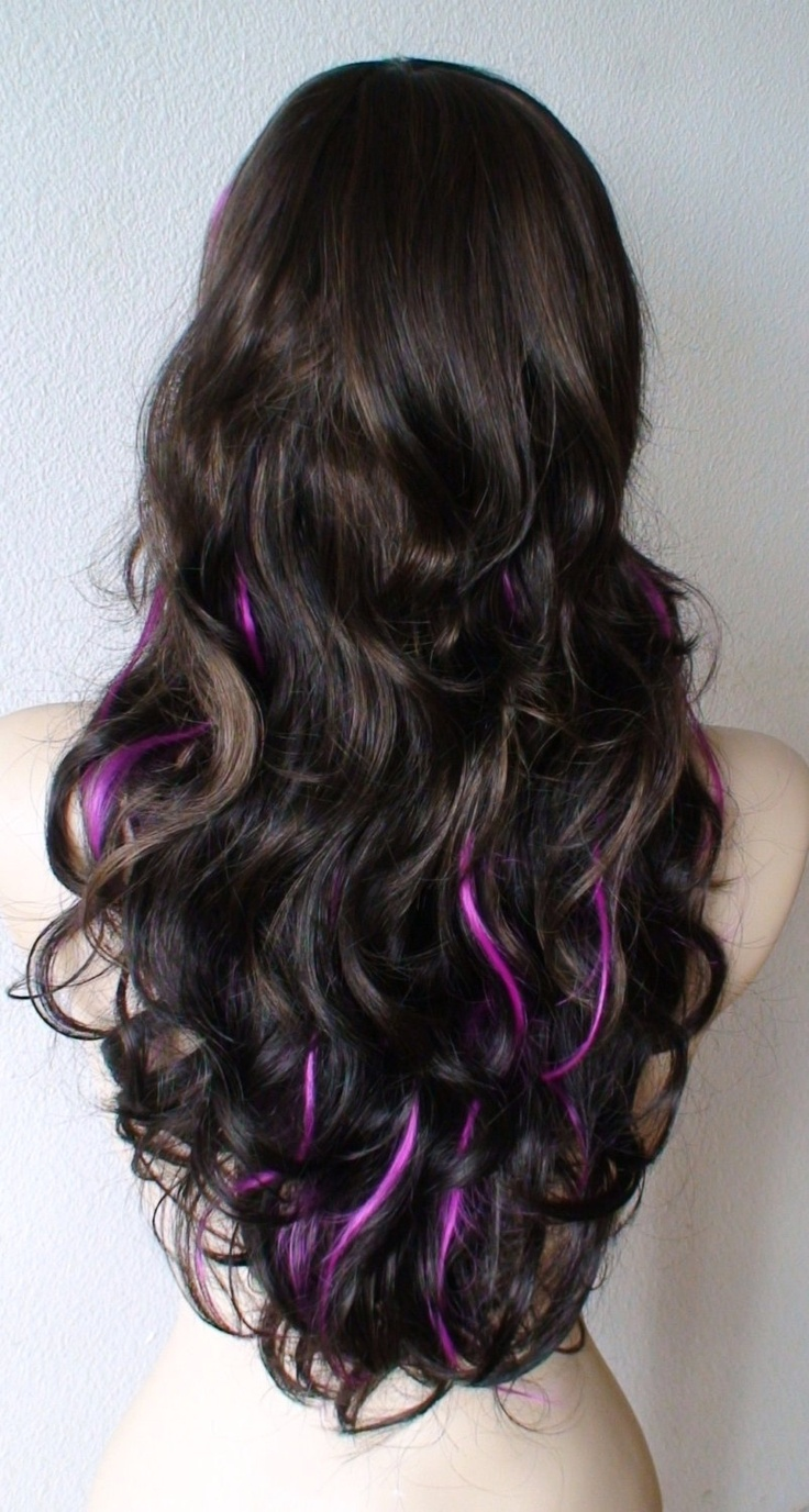 Brown/ auburn  hair with Fuchsia highlights wig. Long Curly hair with long side bangs wig.. $74.50, via Etsy.