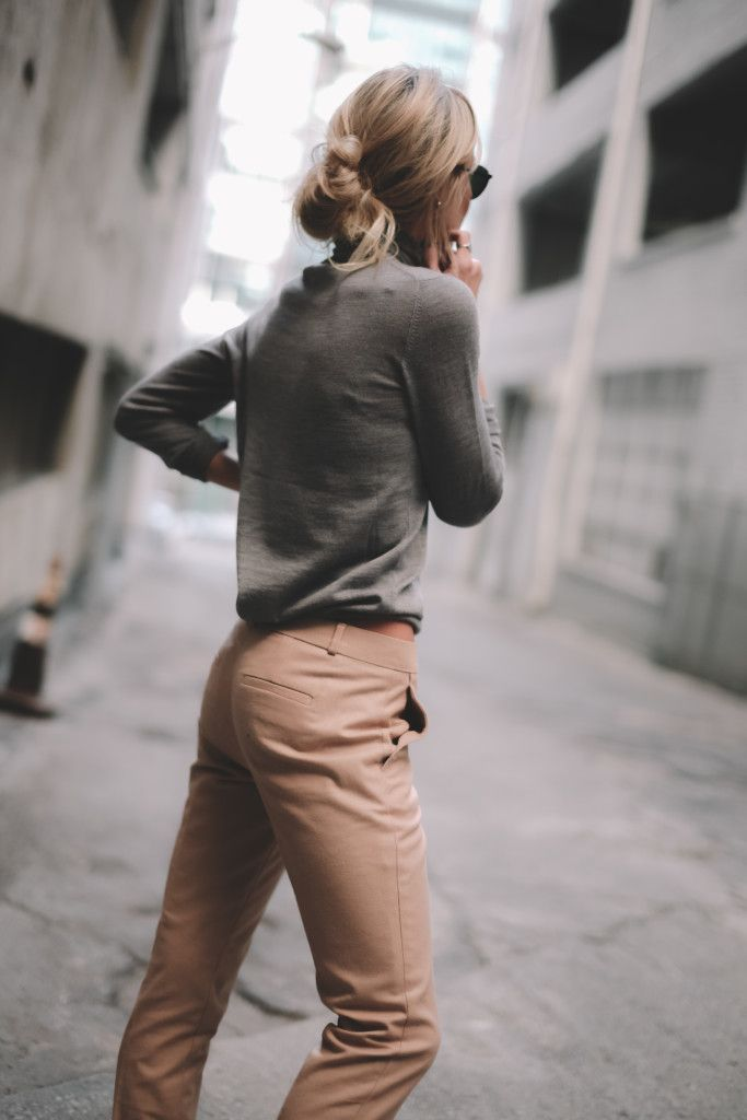 grey top + pale peach trousers