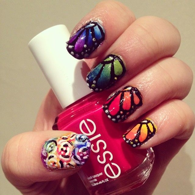 butterfly nail design nail art red nail polish flowers essie #makeupbysehar