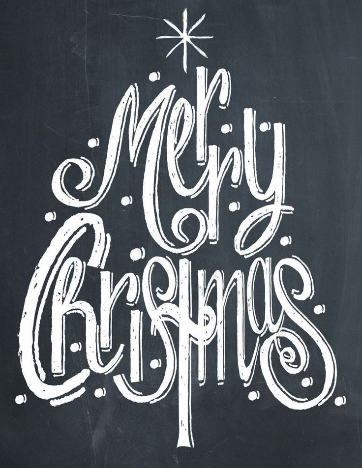 Merry Christmas Tree Chalk Print - Lil Luna