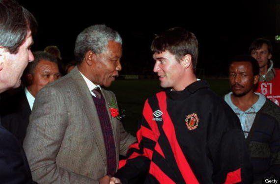Nelson Mandela with Roy Keane.