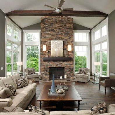 1000 images about great room on pinterest limestone for Fireplace with windows on each side