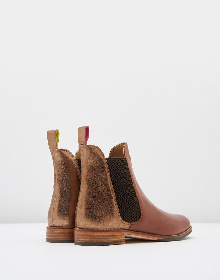 Westbourne Bronze Leather Chelsea Boots | Joules US