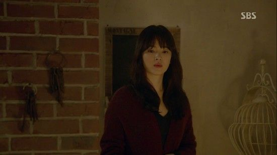 Oh Young in 'That Winter The Wind Blows' Episode 3: Wine Cardigan Coat Styling