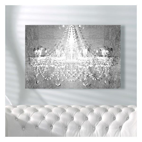 Fashion And Glam Dramatic Entrance Silver Chandeliers Wrapped Canvas Graphic Art Print In 2020 Glam Wall Decor Silver Wall Decor Glitter Wall Art