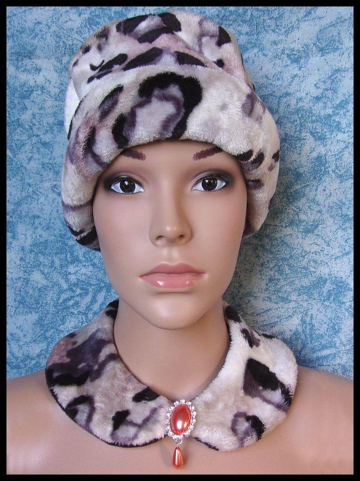 Faux col en polaire motif léopard broche strass : Echarpe, foulard, cravate par orkan28