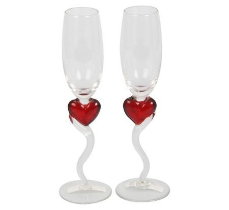 Stemmed Wine Glasses with Hearts @ R56.45 per set of 2