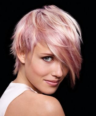 A Short Blonde straight coloured multi-tonal pink white choppy womens haircut hairstyle by Wella