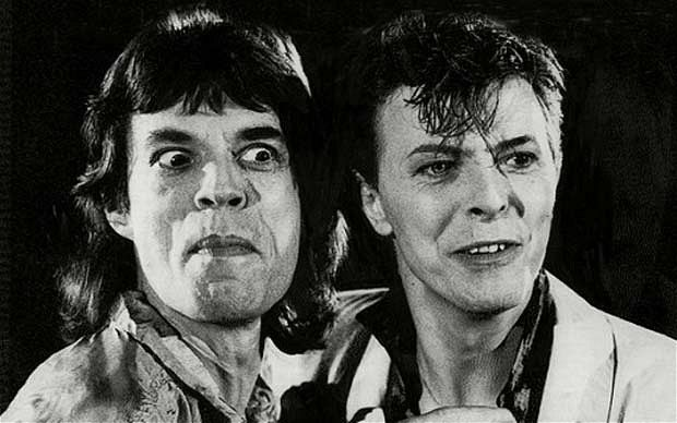 Mick Jagger and David Bowie in the video for Dancing in the Streets.
