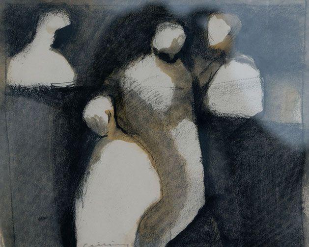 Untitled, [four figures], no date, Richard Ciccimarra, mixed media, 7 1/2 x 9 1/4 in., Victoria, British Columbia, Canada.