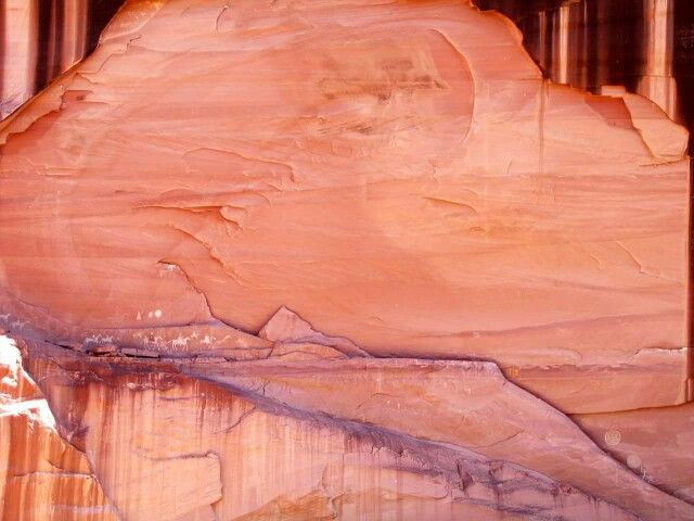 """""""On the Dirt Road"""" with Ernie and Nancy """"Narbona Expedition""""  Canyon de Chelly, AZ. This photo was taken about 100 yards away. The horses and riders stand about 3 feet tall. This is the most striking pictograph site we have ever seen."""