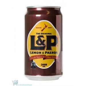 A box of 24 bottles of L&P. Also known as Lemon & Paeroa. A delicious combination of lemon juice and mineral water. Each bottle weighs 355ml cans.