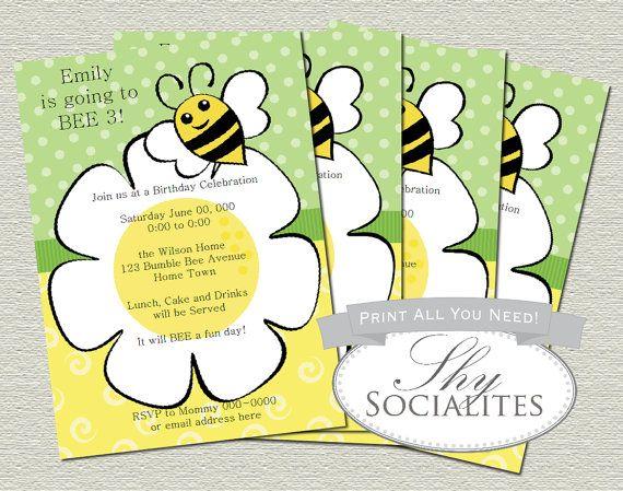 Daisy and Bee Printable PDF Invitation / Bee Baby Shower