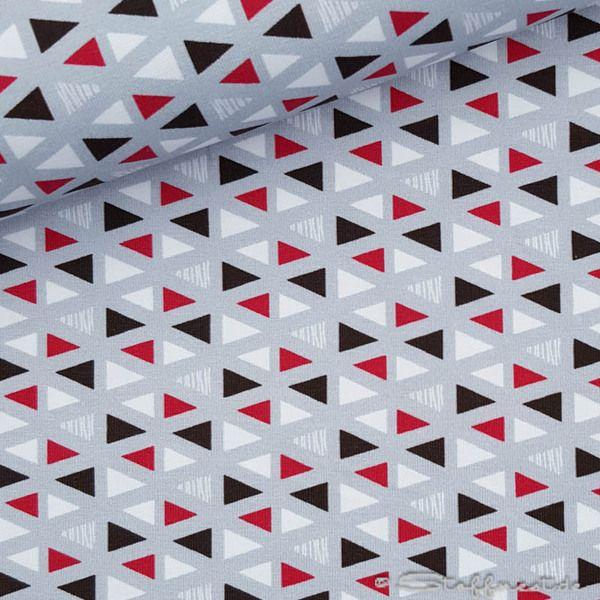 Kinderstoffe - Jersey, hilco, Seaside Triangle, grau, Ökotex - ein Designerstück von Stoffnest bei DaWanda