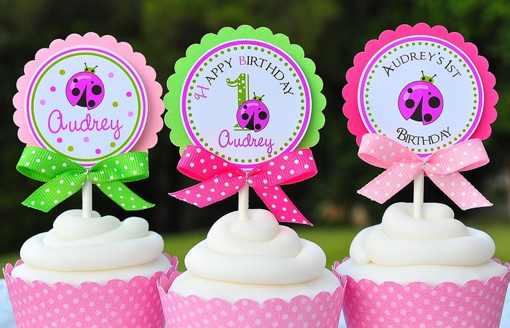 Ladybug++Cupcake+Toppers+with+Bows+++Set+of+12+by+thepaperkingdom,+$13.00