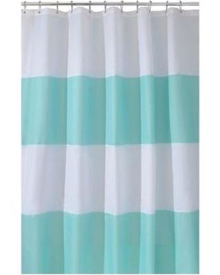 Zeno Waterproof 72-Inch by 72-Inch Shower Curtain, Blue/White