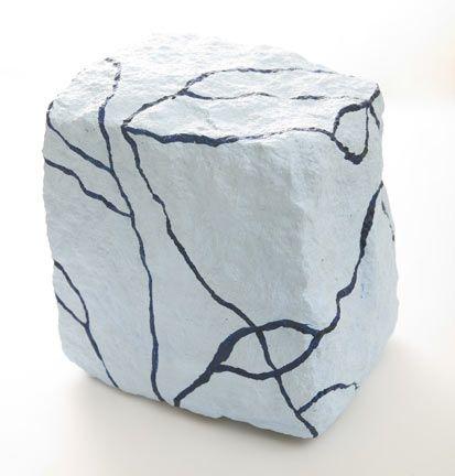 Oil on granite 18x18x18 cm