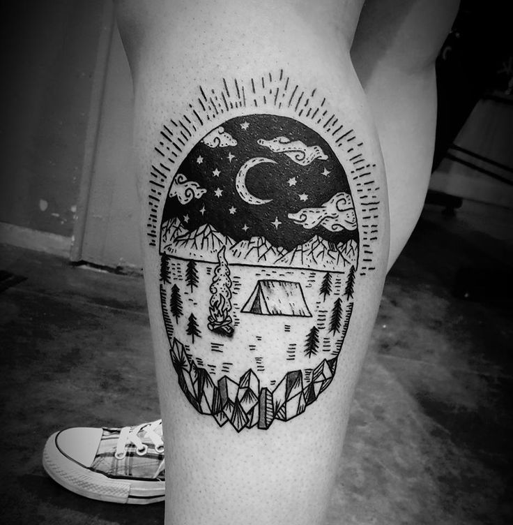 Black ink camping tattoo by Sam at INK INK Tattoos and Piercings; Springfield, MO.