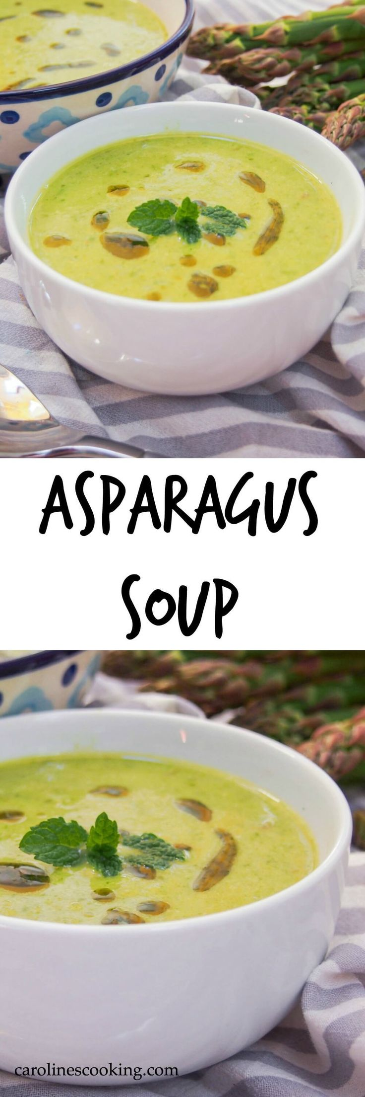 Asparagus soup is such a comforting taste of spring. Light, easy to make and good for you too. A great appetizer (Vegan, gluten free)