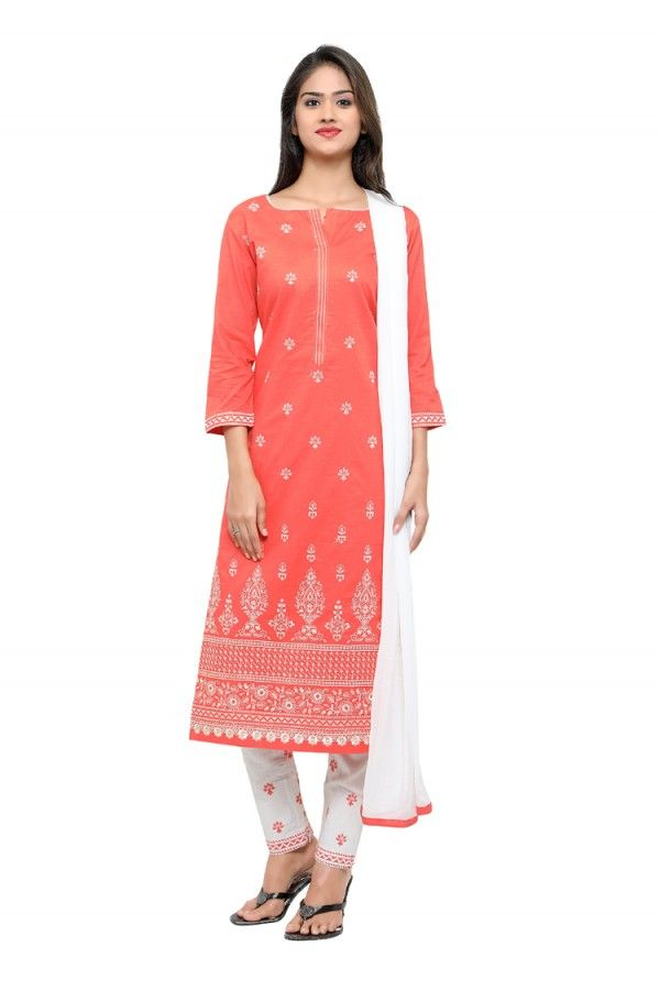 Cotton Orange Designer Salwar Suit - 17102