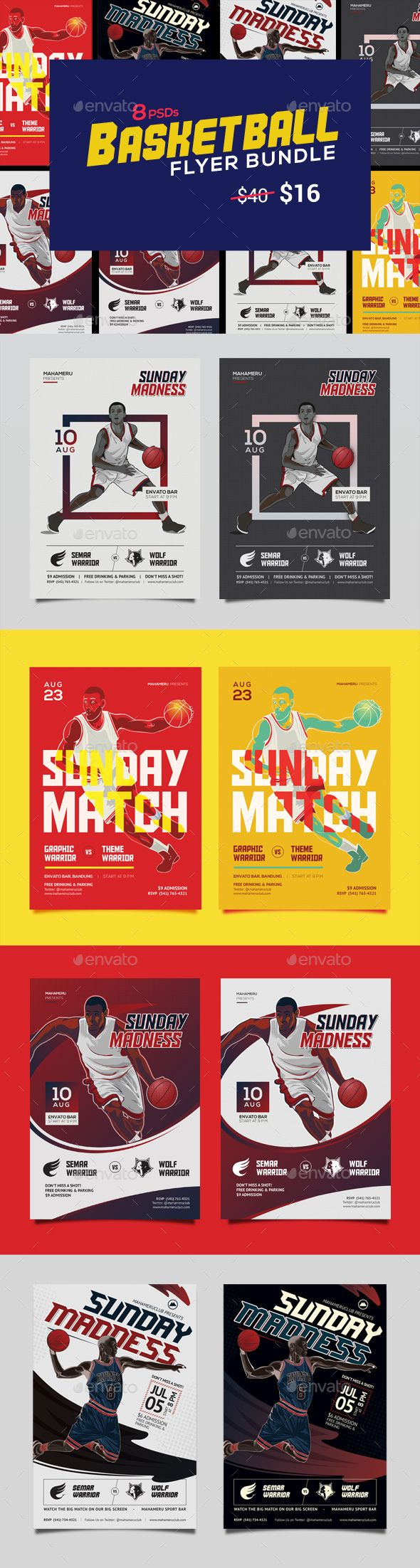 Basketball Match Flyer Bundle - 60% OFF