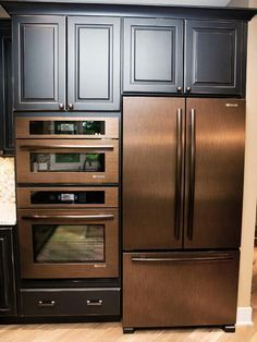 Brushed copper kitchen appliances