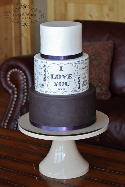 Hand painted typography wedding cake with words chosen by the bride and groom, Sweet and Swanky Cakes in Bend, OR