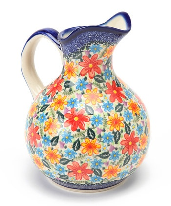 Polish Pottery pitcher-so much color