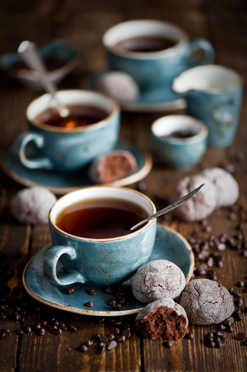 :)Teas Time, Blue Doors, Cups Of Coffe, Chocolates Cookies, Coffe Drinks, Colors Palettes, Teacups, Teas Parties, Vegan Cookies
