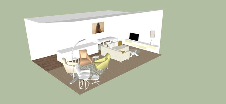 SketchUp lounge, dining and kitchen