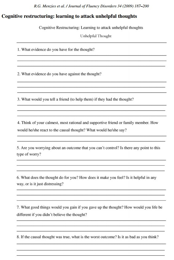 Collection Cognitive Distortions Worksheet Photos - Studioxcess